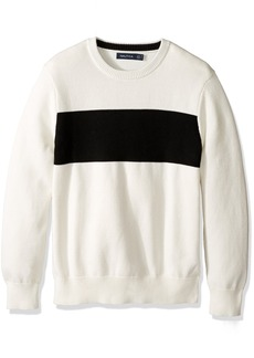 Nautica Men's Long Sleeve Chest Stripe Crew Neck Sweater