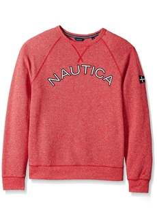 Nautica Men's Long Sleeve Classic Fit Logo Crewneck Sweatshirt Red