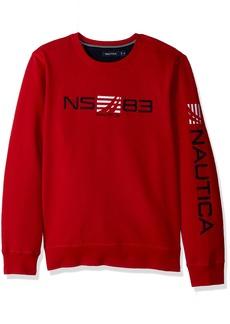 Nautica Men's Long Sleeve Classic Fit Logo Crewneck Sweatshirt Red