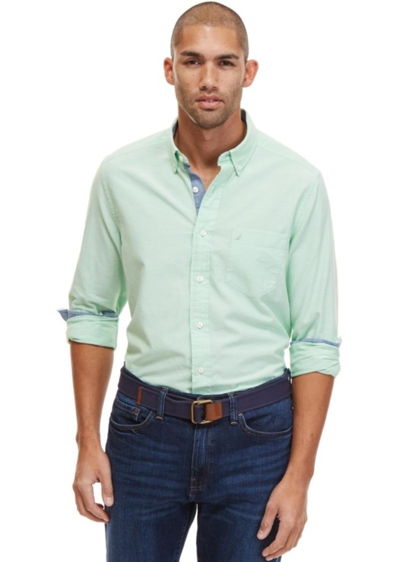Nautica Men's Long-Sleeve Contrast-Trim Oxford Shirt