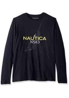 Nautica Men's Long Sleeve Crew Neck Graphic T-Shirt
