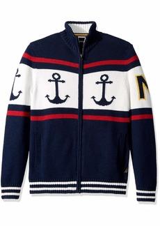 Nautica Men's Long Sleeve Full Zip Front Crew Neck Fairisle Sweater
