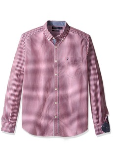 Nautica Men's Long Sleeve Gingham Plaid Button Down Shirt Red
