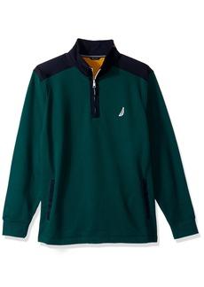 Nautica Men's Long Sleeve Half Zip Mock Neck Colorblocked Sweatshirt  3X-Large