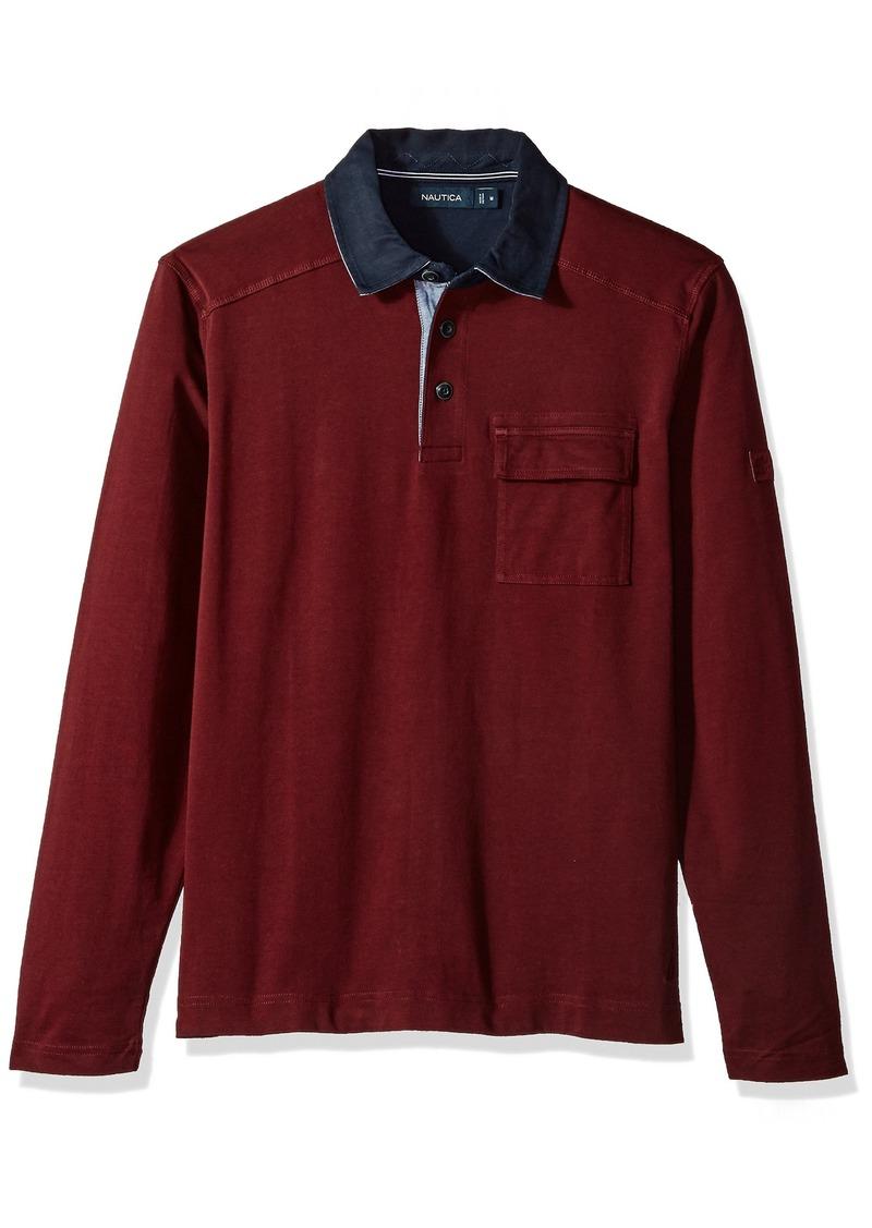 Nautica Nautica Men's Long Sleeve Heavy Weight Jersey Polo Shirt ...