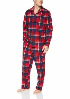 Nautica Men's Long Sleeve Lightweight Soft Cozy Fleece Top and Pant Pj Set red