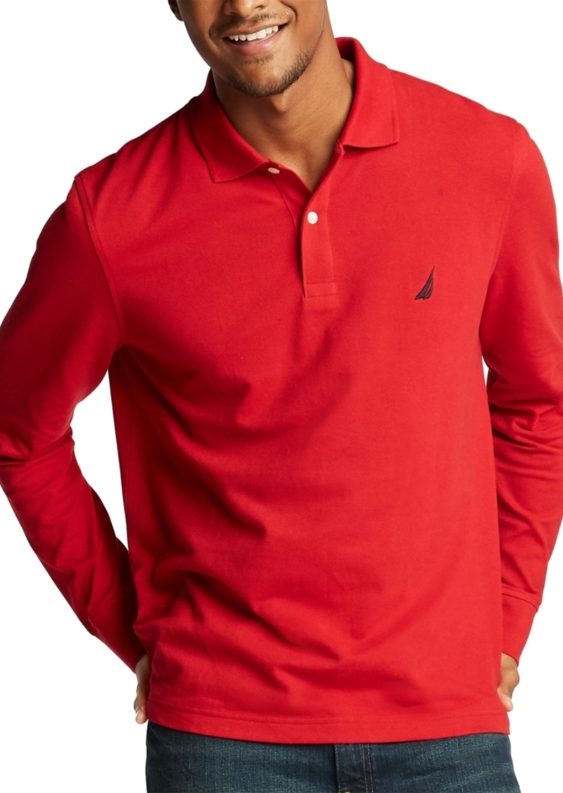 Nautica Men's Long Sleeve Logo Polo Shirt