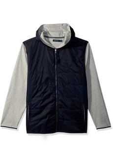 Nautica Men's Long Sleeve Mix Media Fleece Zip Front Hoodie