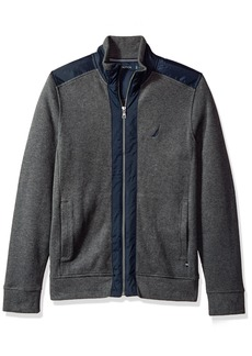 Nautica Men's Long Sleeve Mix Media French Rib Track Jacket