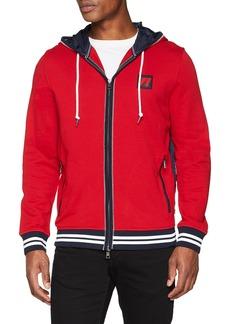 Nautica Men's Long Sleeve Mix Media Full Zip Hoodie Red