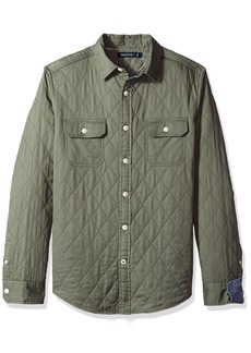 Nautica Men's Long Sleeve Quilted Solid Button Down Shirt