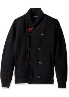 Nautica Men's Long Sleeve Shawl Collar Double Breasted Peacoat Sweater