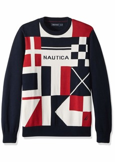 Nautica Men's Long Sleeve Signature Print Sweater