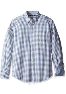 Nautica Men's Long Sleeve Small Plaid Button Down Shirt Corn