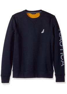 Nautica Men's Long Sleeve Solid French Rib Crew Neck Sweatshirt