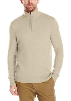 Nautica Men's Long Sleeve Solid Quarter Zip Knit Sweater