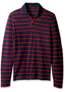 Nautica Men's Long Sleeve Stripe Johnny Collar Polo Shirt