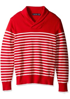 Nautica Men's Long Sleeve Striped Shawl Neck Sweater