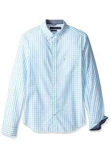 Nautica Men's Long Sleeve Tattersal Plaid Button Down Shirt