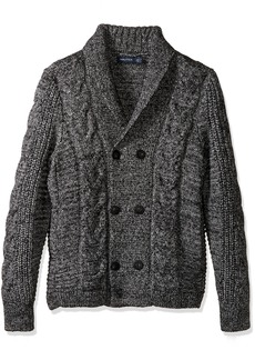 Nautica Men's Long Sleeve Textured Shawl Collar Double Breasted Peacoat Sweater