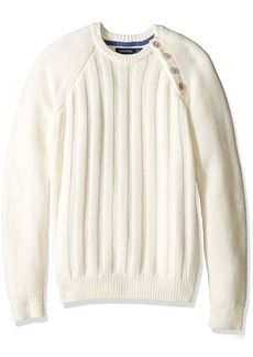 Nautica Men's Long Sleeve Textured Shoulder Sweater