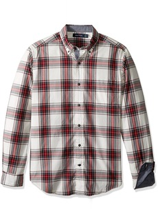 Nautica Men's Long Sleeve White Ground Plaid Button Down Shirt