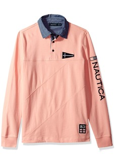 Nautica Men's Long Slim Fit Heritage Logo Sleeve Polo Shirt