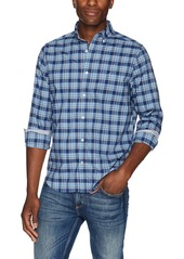 Nautica Men's Ls Wrinkle Resistant Stretch Poplin Plaid Button Down Shirt