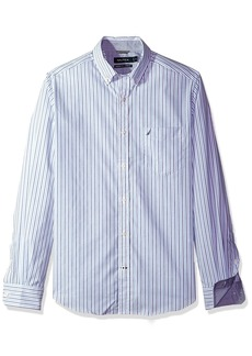 Nautica Men's Ls Wrinkle Resistant Stretch Poplin Stripe Button Down Shirt