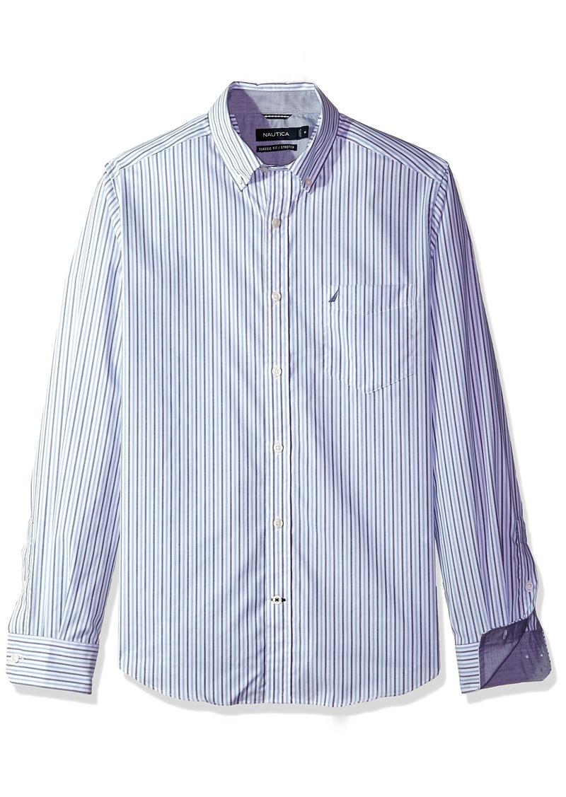 Nautica Men's Ls Wrinkle Resistant Stretch Poplin Stripe Button Down Shirt