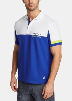 Nautica Men's Men's Blue Sail Classic-Fit Moisture-Wicking Colorblocked Logo Polo, Created for Macy's