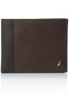 Nautica Men's Milled Leather Passcase Wallet with Removable Card Case