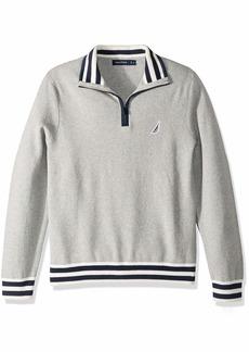Nautica Men's Mixed Media Half-Zip Sweater