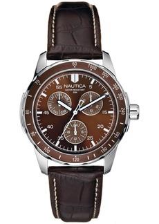 Nautica Men's N09550G Wind Seeker Multifunction Brown/Black Leather Strap Watch