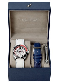 Nautica Men's N09907G Sport Ring Multifunction White Silicone Strap Watch Box Set with Navy Leather Strap