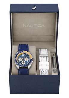 Nautica Men's N09915G Sport Ring Multifunction Navy Resin Strap Watch Box Set with White Resin Strap