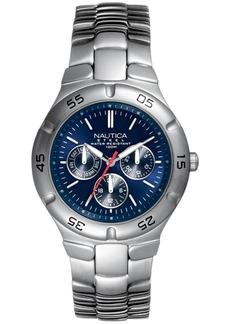 Nautica Men's N10061 Multifunction Silver/Blue Stainless Steel Bracelet Watch
