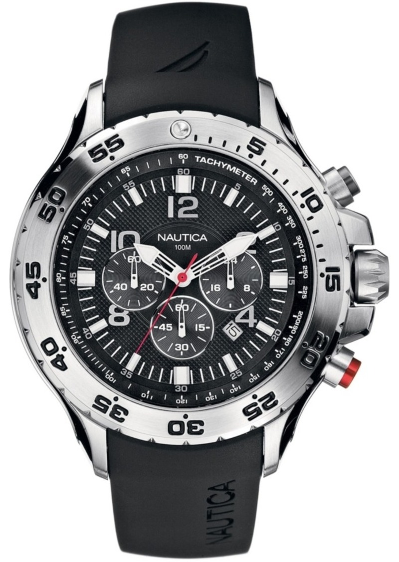 Nautica Men's N14536G Nst Chrono Black Resin Strap Watch