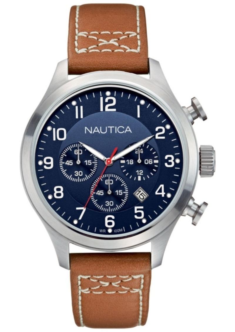 Nautica Men's N14699G Bfd 101 Chrono Classic Tan/Navy Leather Strap Watch