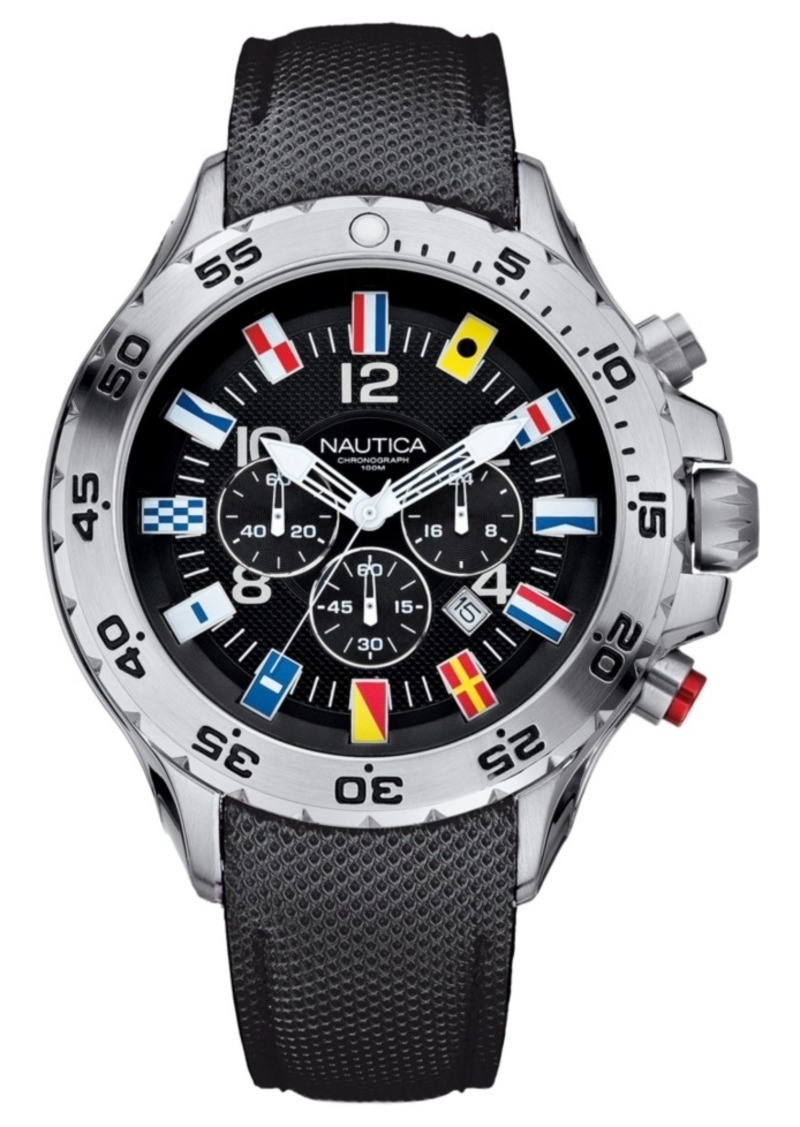 Nautica Men's N16553G Nst Chrono Flags Black Resin-Coated Leather Strap Watch