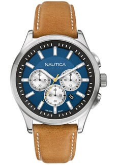 Nautica Men's N16695G Nct 17 Chrono Tan Leather Strap Watch