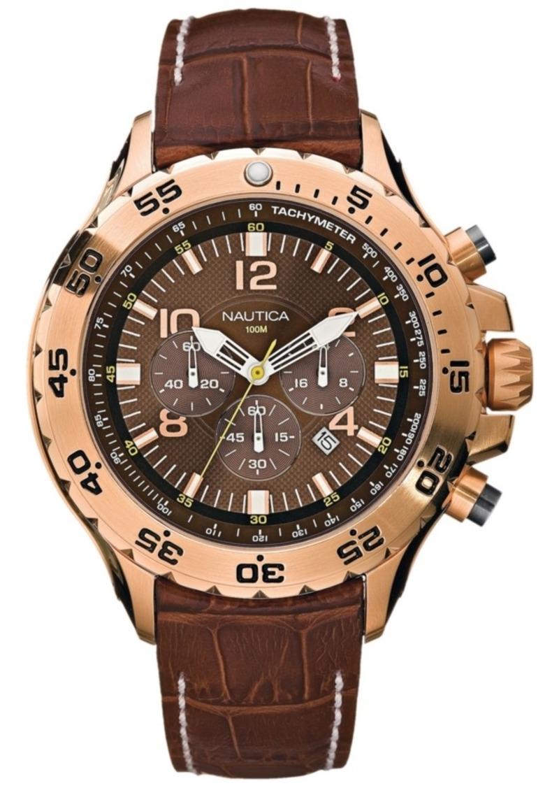 Nautica Men's N18522G Nst Chrono Brown Leather Strap Watch