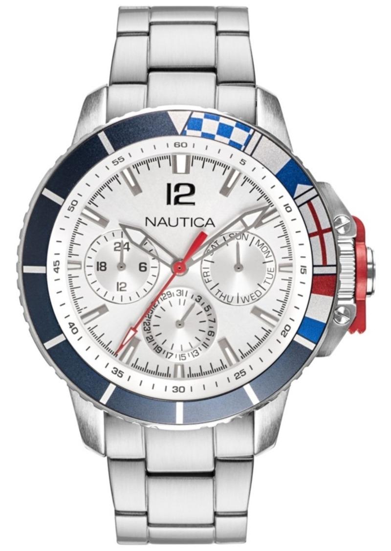 Nautica Men's NAPBHP907 Bay Ho Multifunction Silver/Black Stainless Steel Bracelet Watch