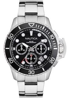 Nautica Men's NAPBSC906 Bayside Chrono Solar Silver/Black Stainless Steel Bracelet Watch