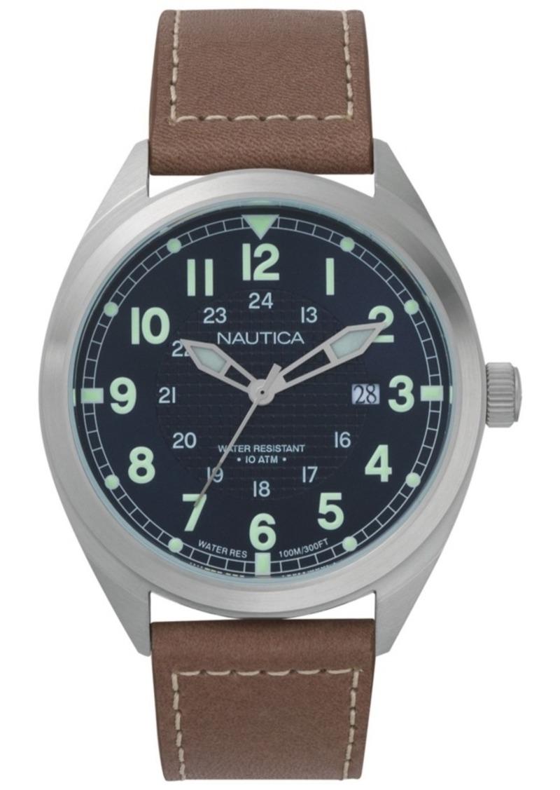 Nautica Men's NAPBTP002 Battery Park Brown/Blue Leather Strap Watch