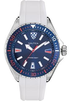 Nautica Men's NAPCPS902 Crandon Park White/Blue Silicone Strap Watch