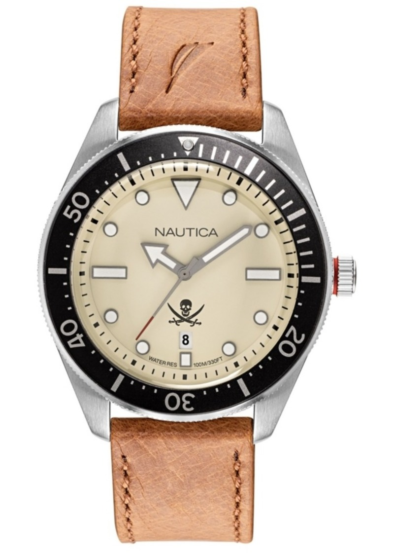Nautica Men's NAPHCP903 Hillcrest Brown/Black/Parchment Leather Strap Watch