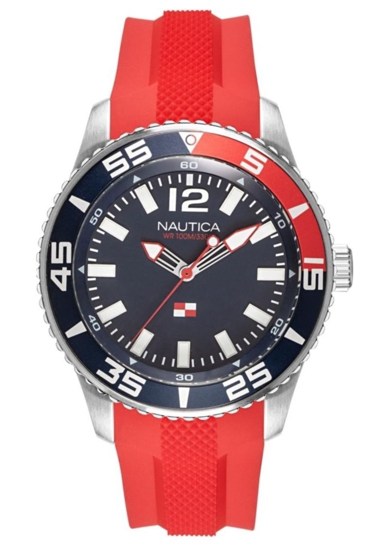 Nautica Men's NAPPBP903 Pacific Beach Red/Navy Silicone Strap Watch
