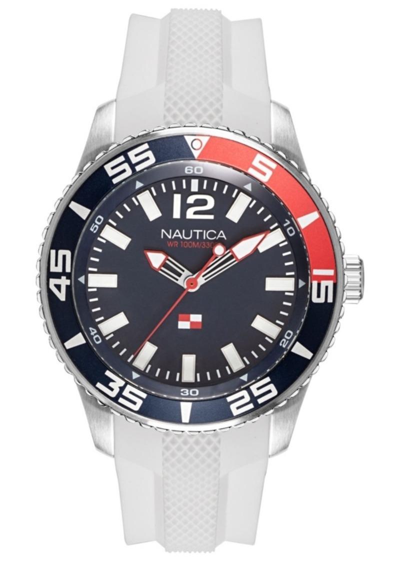 Nautica Men's NAPPBP905 Pacific Beach White/Navy Silicone Strap Watch