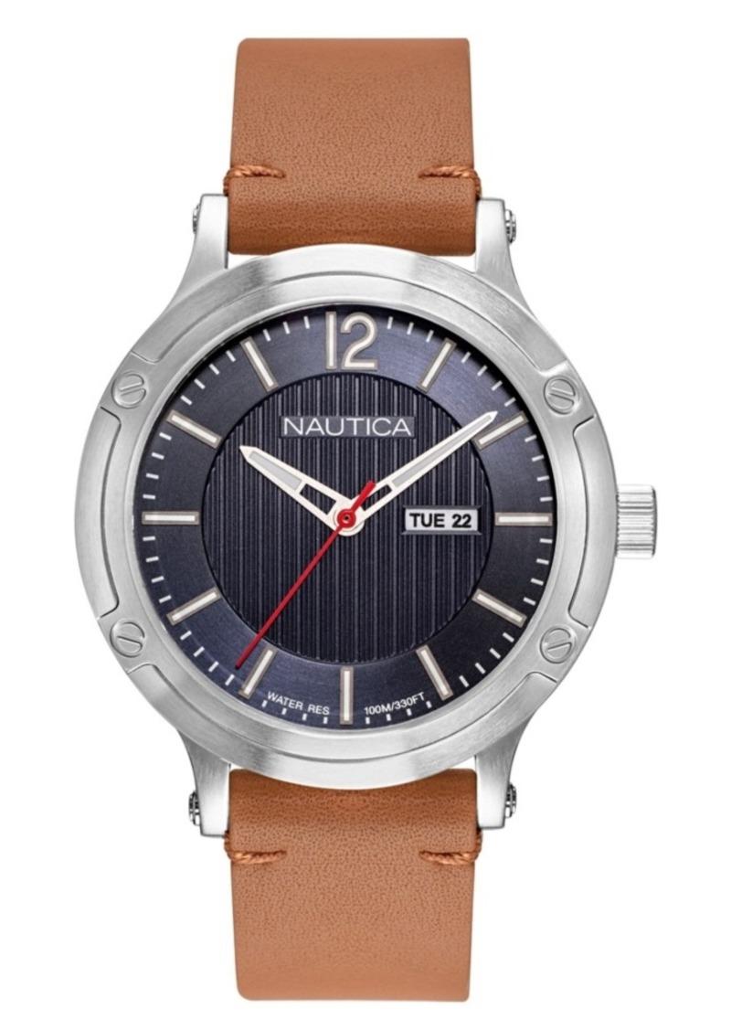 Nautica Men's NAPPSP901 Porthole Slim Tan Leather Strap Watch Box Set + Navy Leather Strap